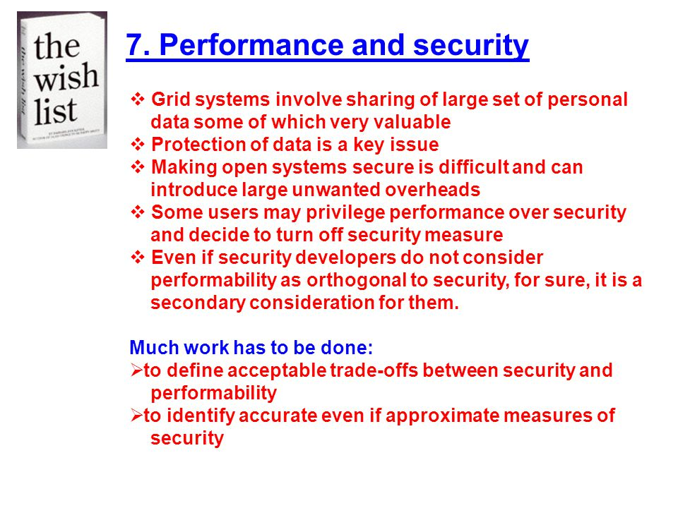 7. Performance and security
