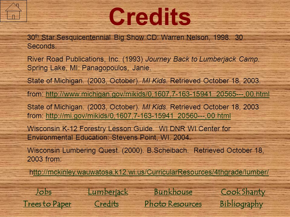 Credits Credits Bunkhouse Lumberjack Jobs Bibliography Trees to Paper