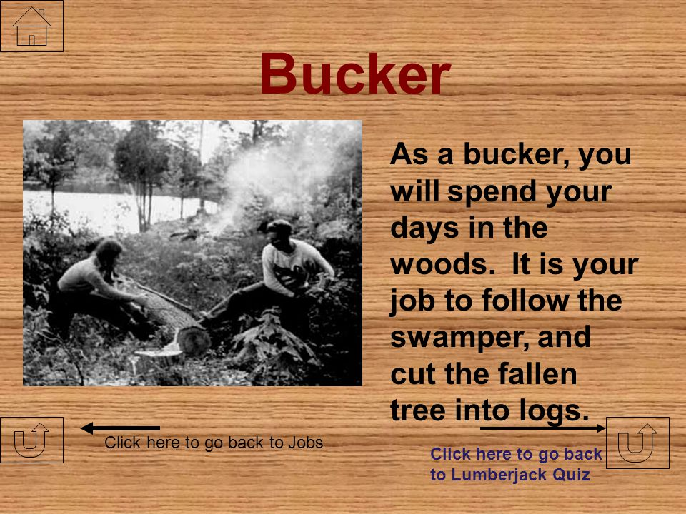 Bucker As a bucker, you will spend your days in the woods. It is your job to follow the swamper, and cut the fallen tree into logs.