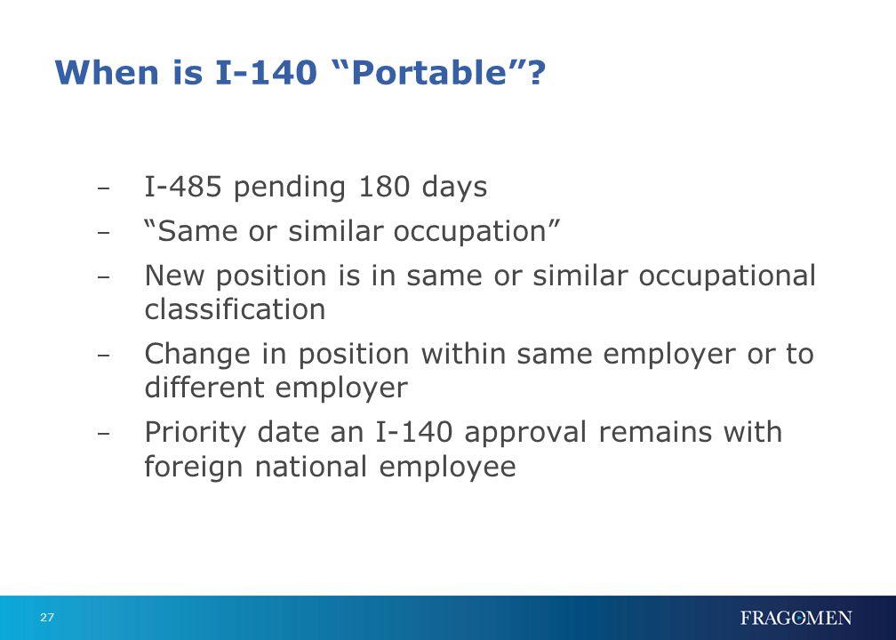 I-485 Portability Miscellaneous Portability points