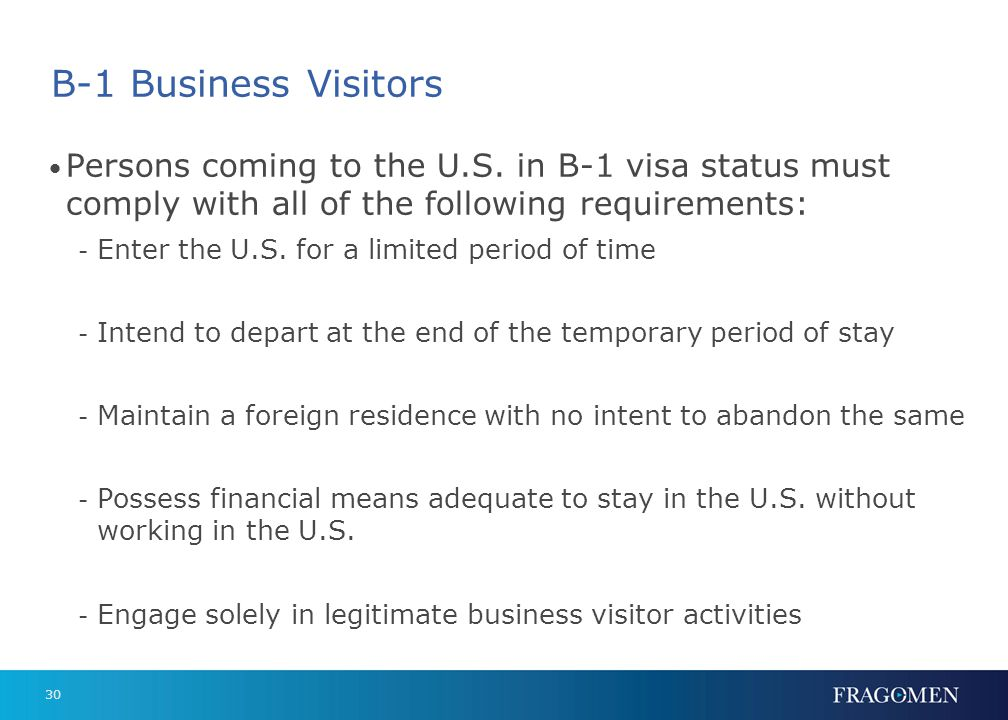 B-1 Business Visitors On foreign payroll