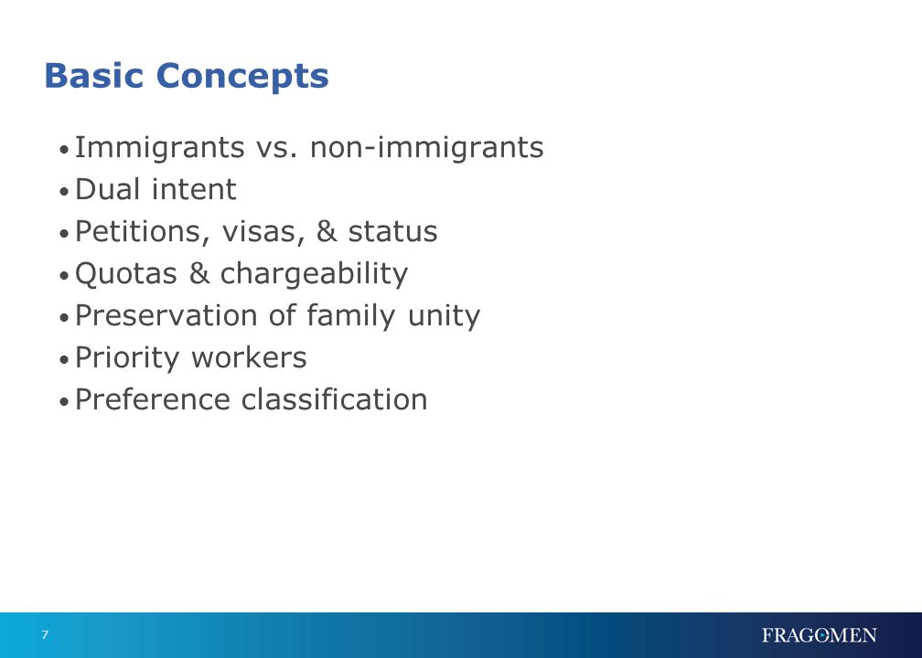 Nonimmigrants Coming to the U.S. temporarily. Retain residence abroad. Dual intent - only for H's and L's.