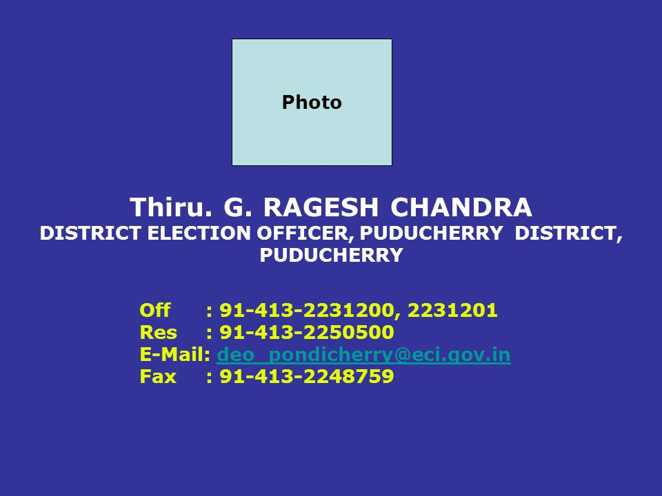 DISTRICT ELECTION OFFICER, PUDUCHERRY DISTRICT, PUDUCHERRY