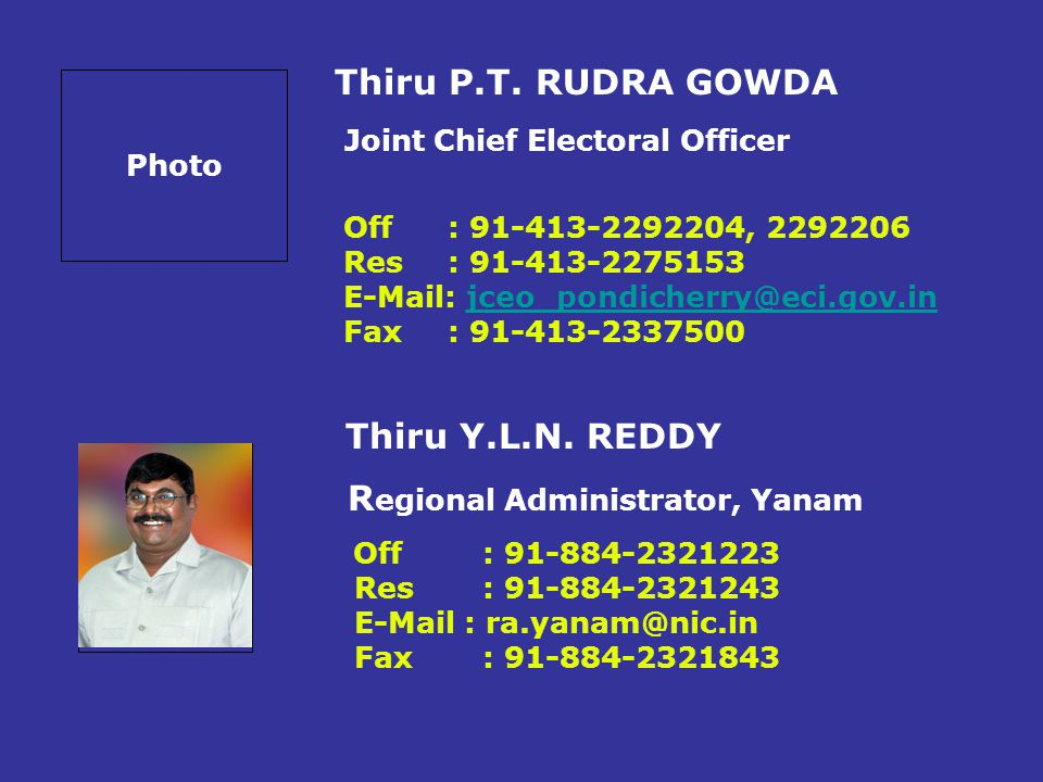 Joint Chief Electoral Officer Regional Administrator, Yanam