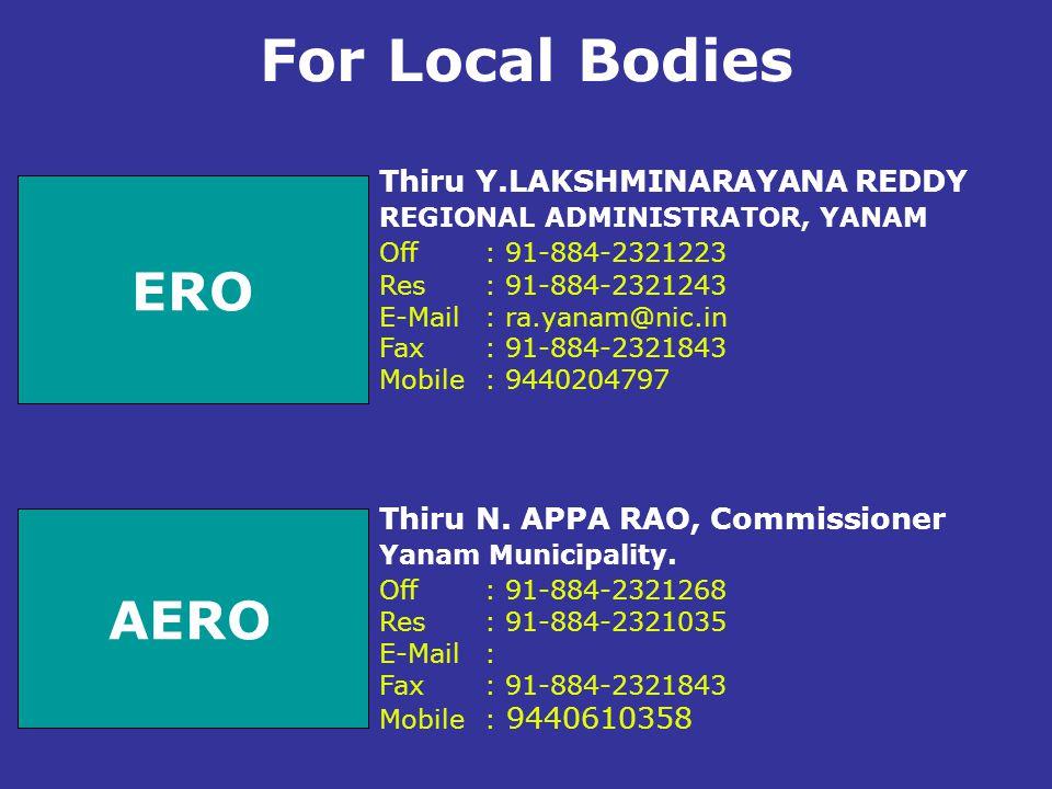 For Local Bodies ERO AERO Thiru Y.LAKSHMINARAYANA REDDY