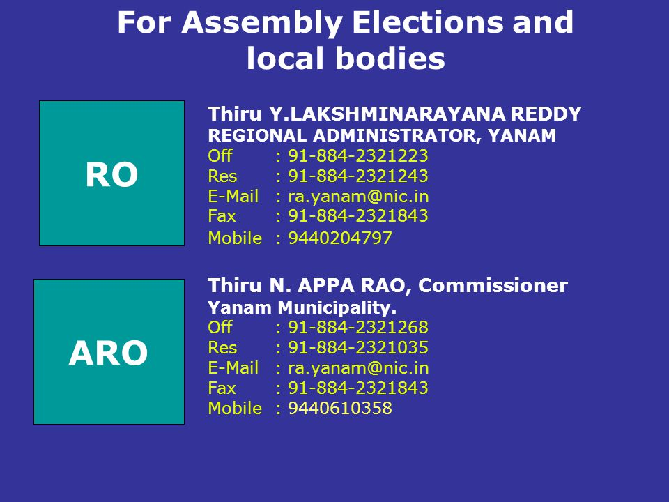For Assembly Elections and