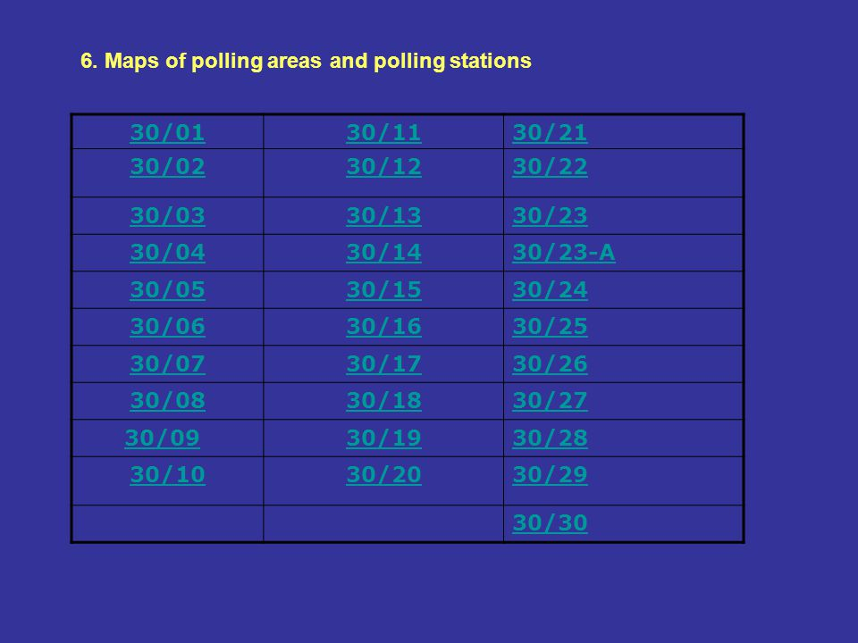 6. Maps of polling areas and polling stations