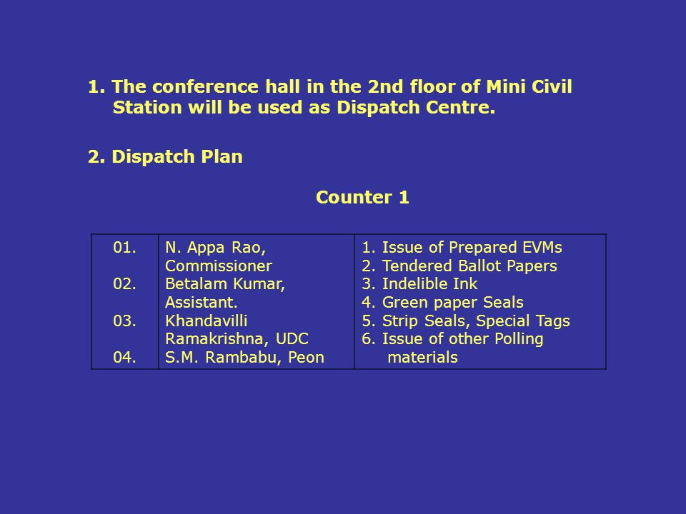 1. The conference hall in the 2nd floor of Mini Civil Station will be used as Dispatch Centre.