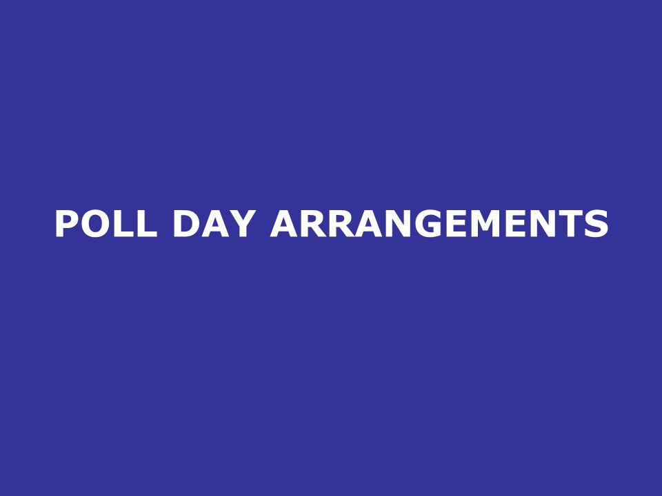 POLL DAY ARRANGEMENTS