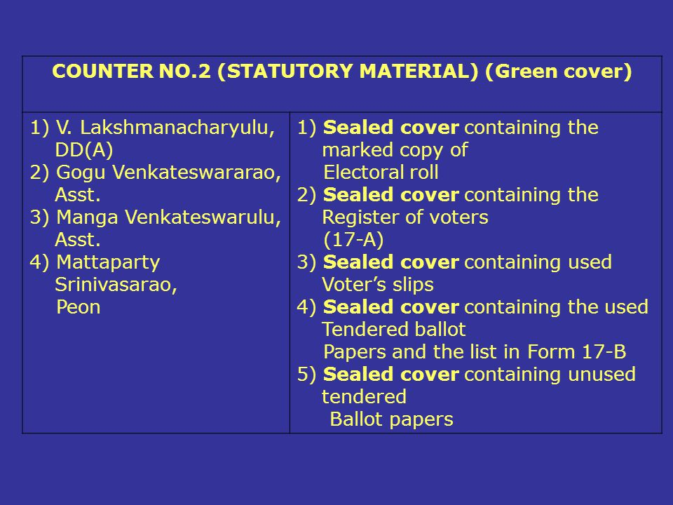 COUNTER NO.2 (STATUTORY MATERIAL) (Green cover)