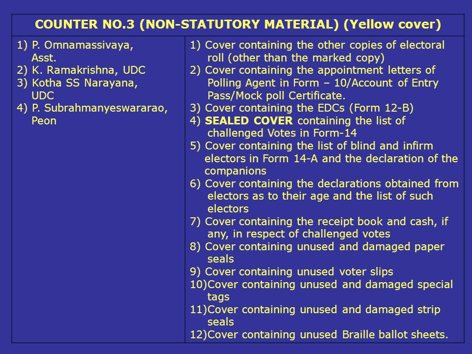 COUNTER NO.3 (NON-STATUTORY MATERIAL) (Yellow cover)