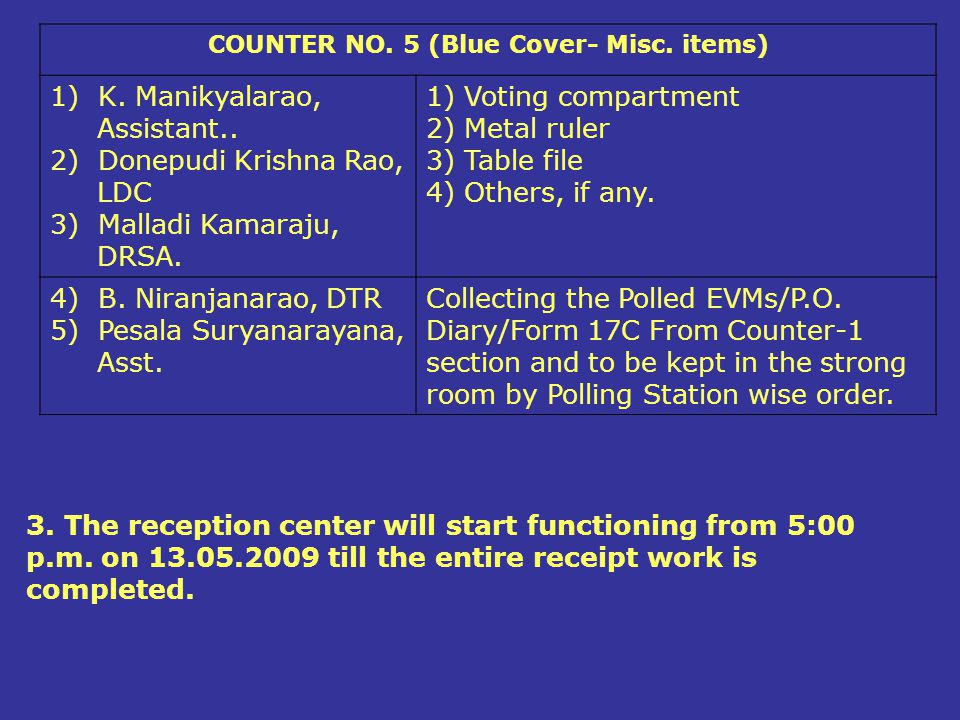 COUNTER NO. 5 (Blue Cover- Misc. items)