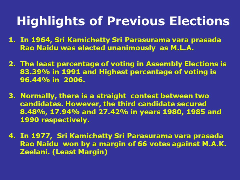 Highlights of Previous Elections