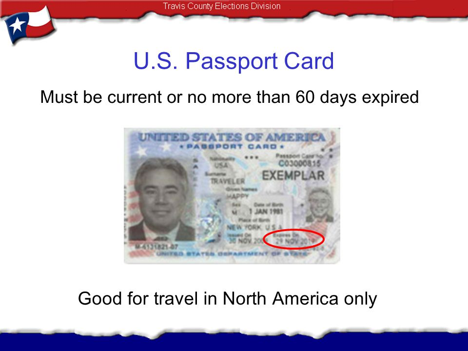 U.S. Passport Card Good for travel in North America only