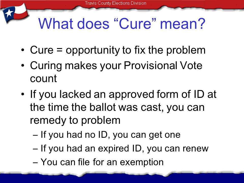 What does Cure mean Cure = opportunity to fix the problem