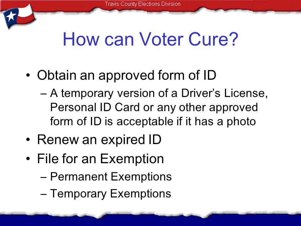 How can Voter Cure Obtain an approved form of ID Renew an expired ID