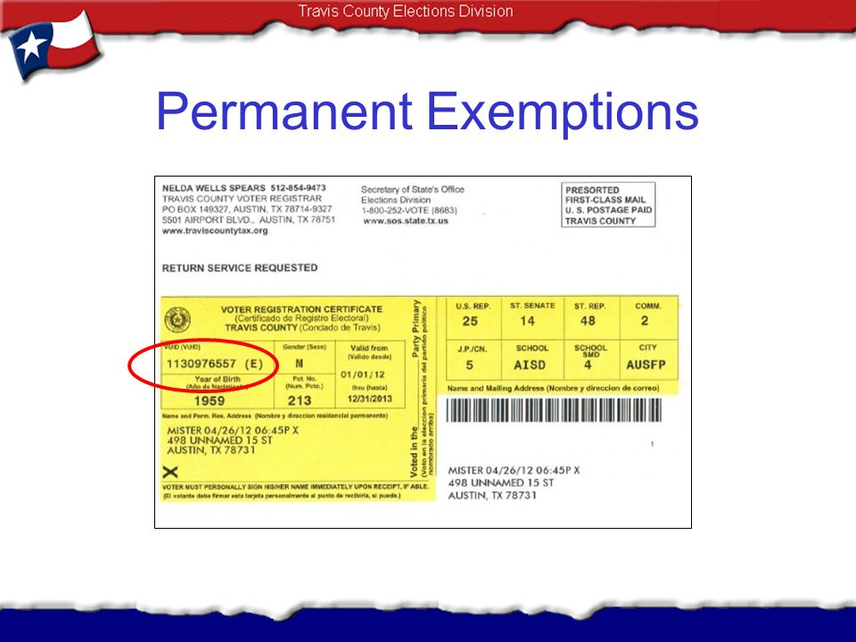 Permanent Exemptions