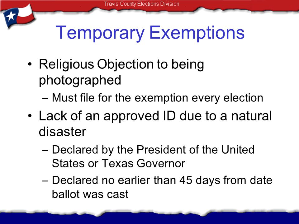 Temporary Exemptions Religious Objection to being photographed