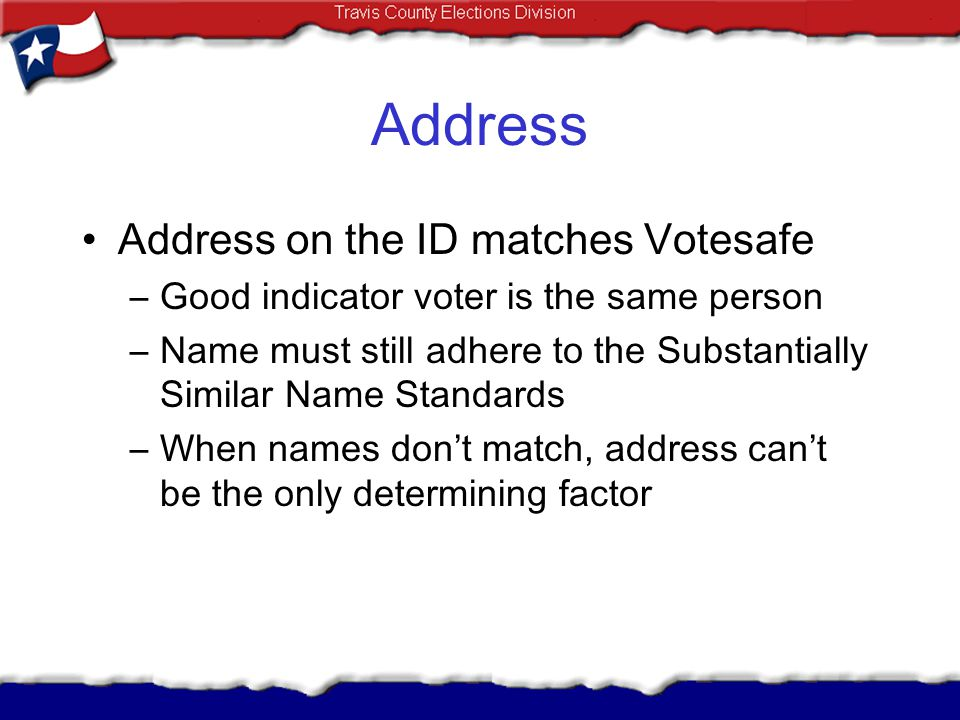 Address Address on the ID matches Votesafe
