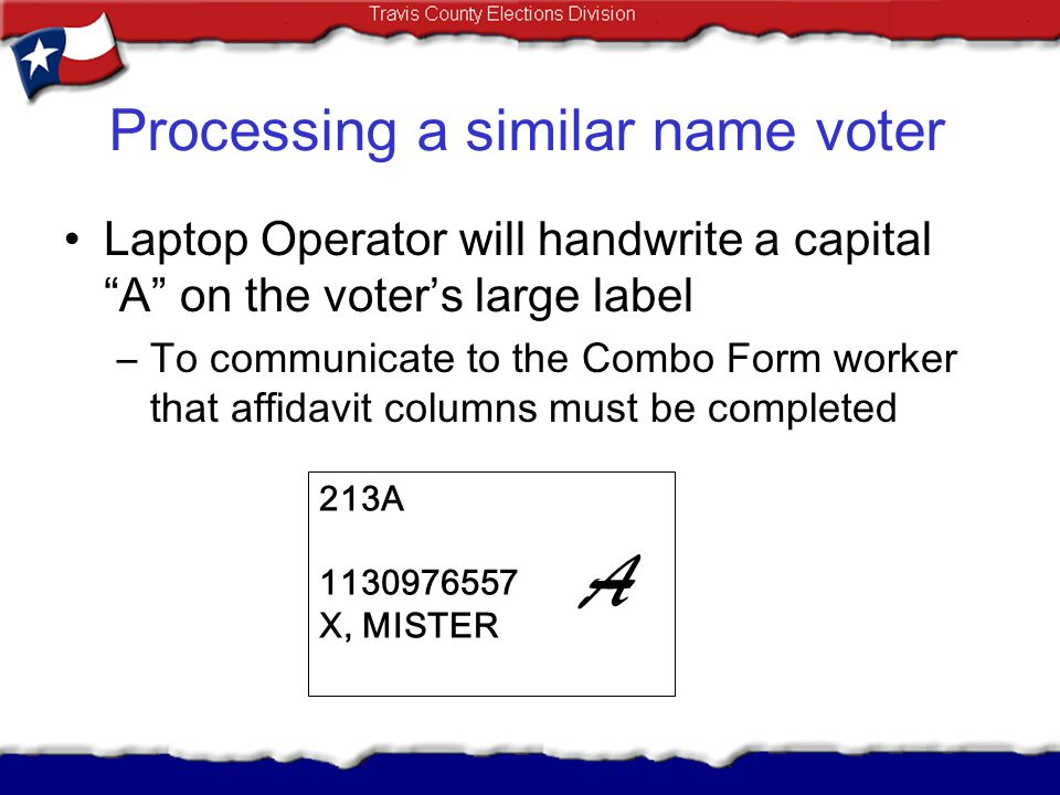 Processing a similar name voter