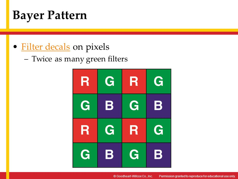 Bayer Pattern Filter decals on pixels Twice as many green filters