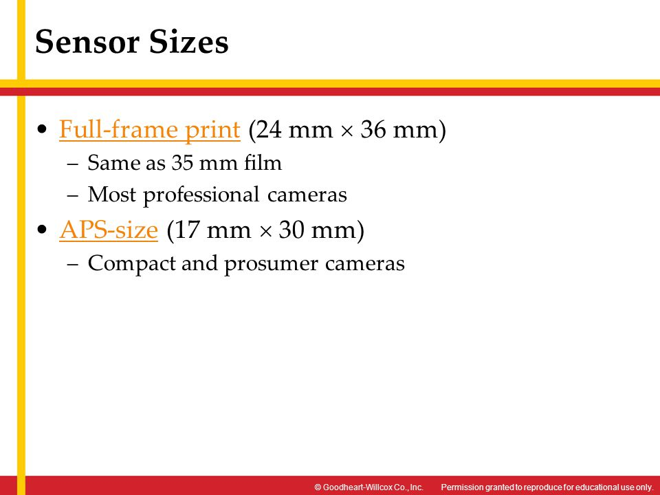 Sensor Sizes Full-frame print (24 mm  36 mm) APS-size (17 mm  30 mm)