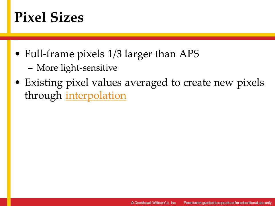 Pixel Sizes Full-frame pixels 1/3 larger than APS