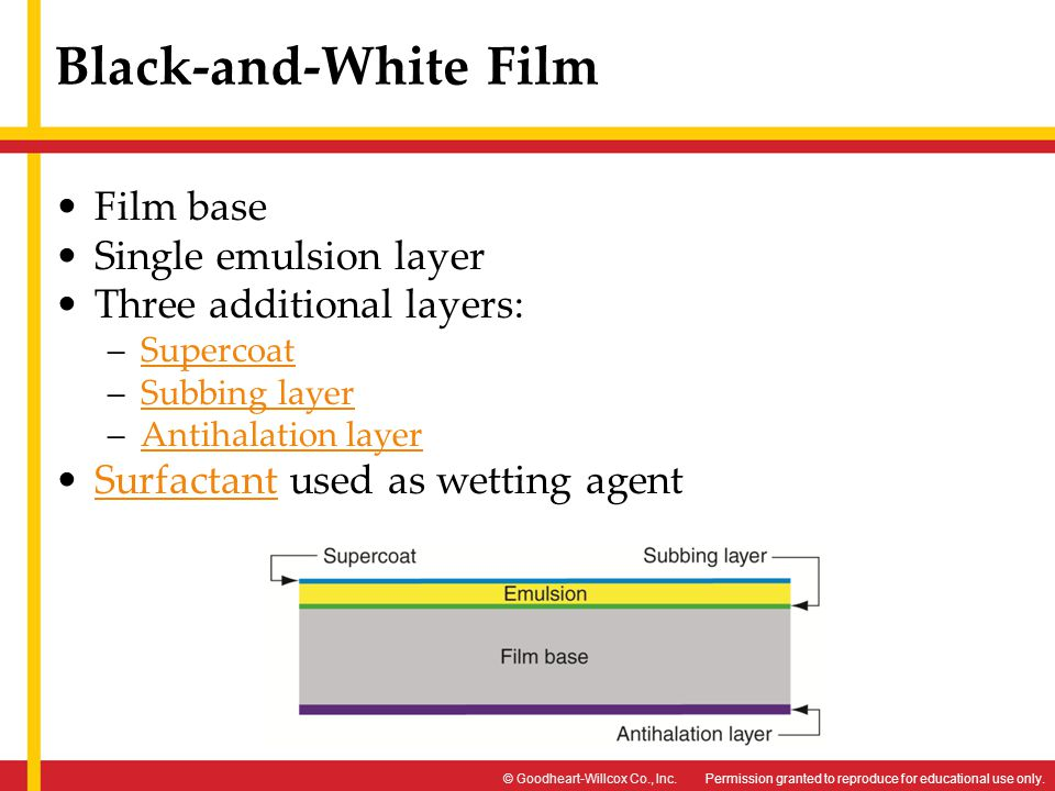 Black-and-White Film Film base Single emulsion layer