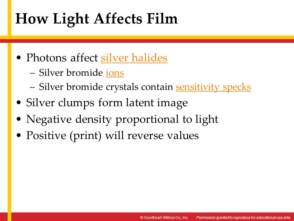 How Light Affects Film Photons affect silver halides