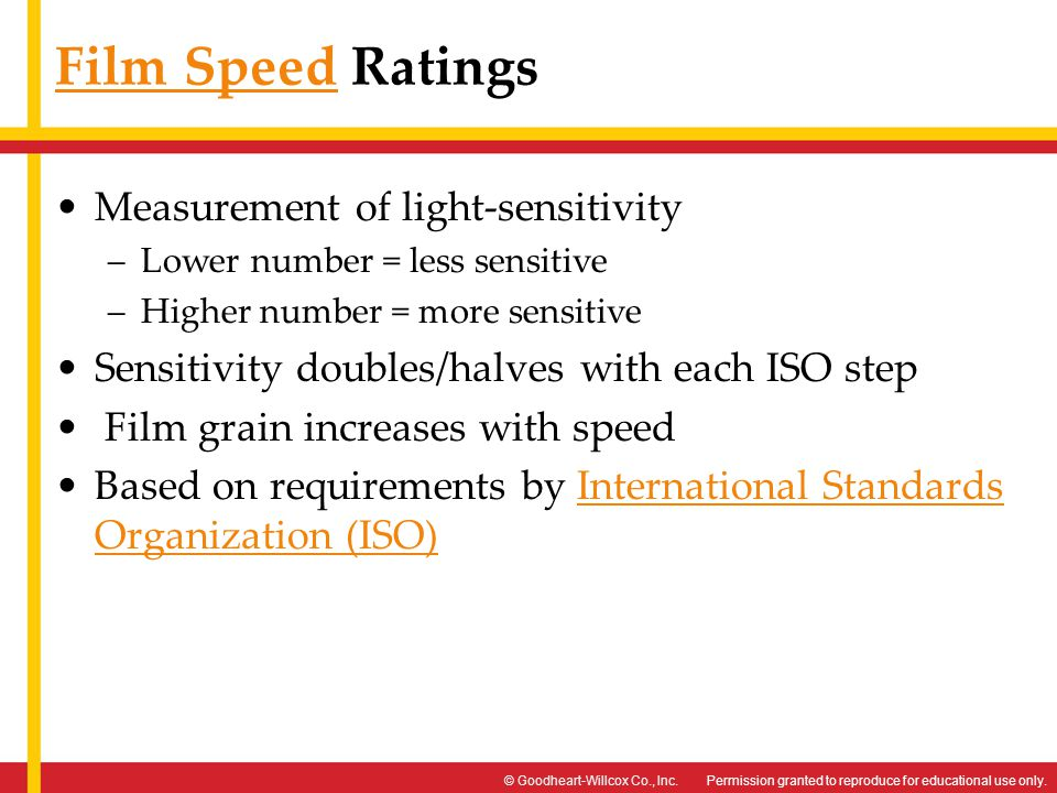 Film Speed Ratings Measurement of light-sensitivity
