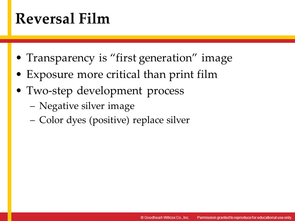 Reversal Film Transparency is first generation image