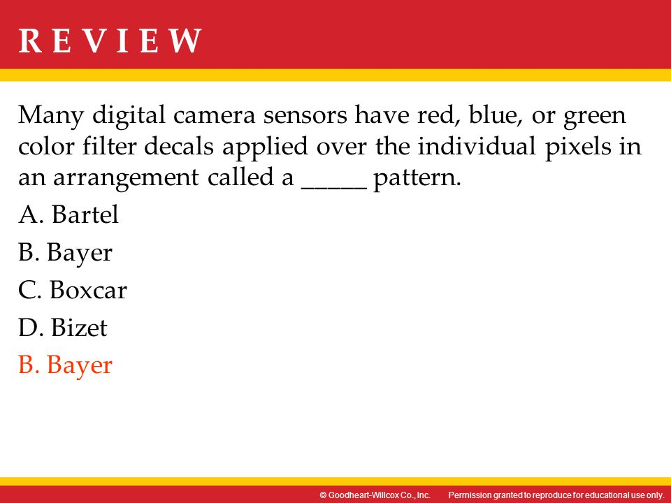 Many digital camera sensors have red, blue, or green color filter decals applied over the individual pixels in an arrangement called a _____ pattern.