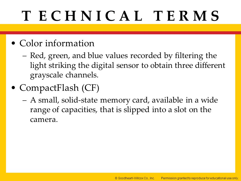Color information CompactFlash (CF)