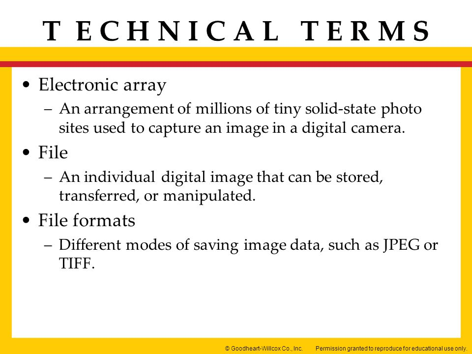 Electronic array File File formats