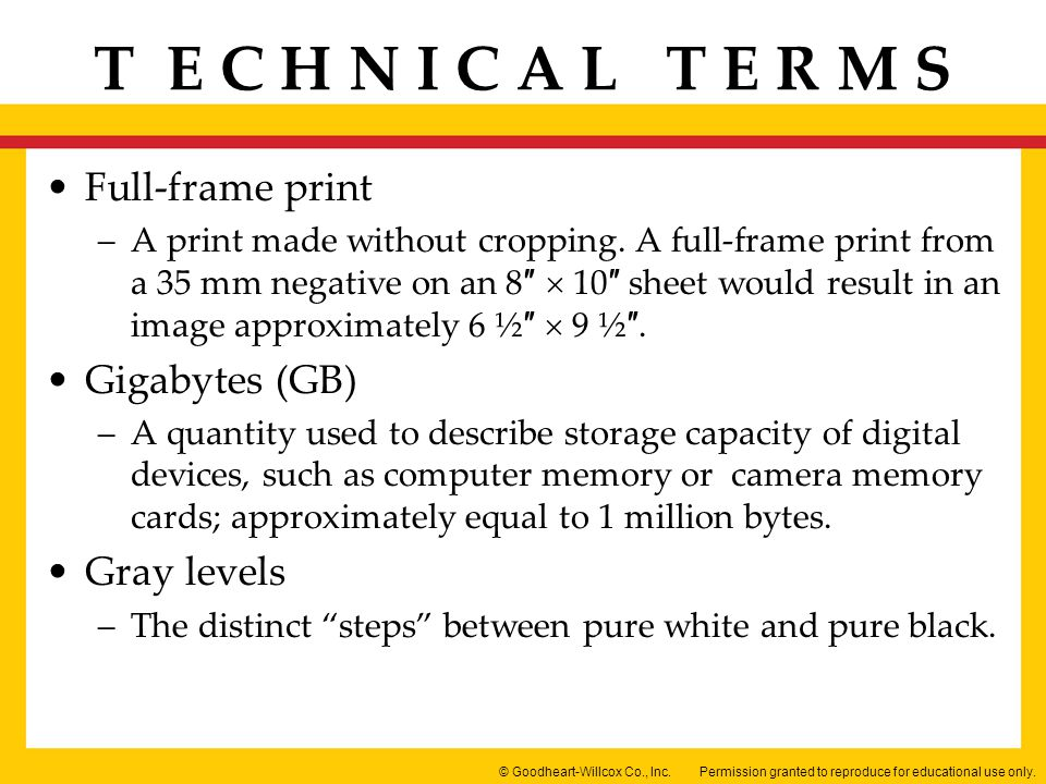 Full-frame print Gigabytes (GB) Gray levels