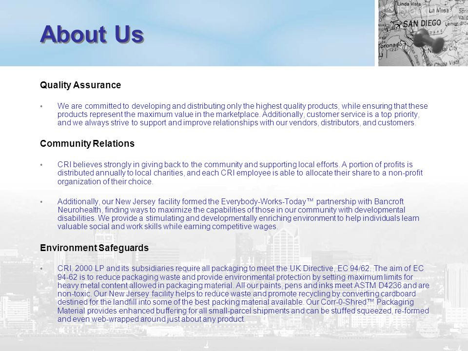 About Us Quality Assurance Community Relations Environment Safeguards