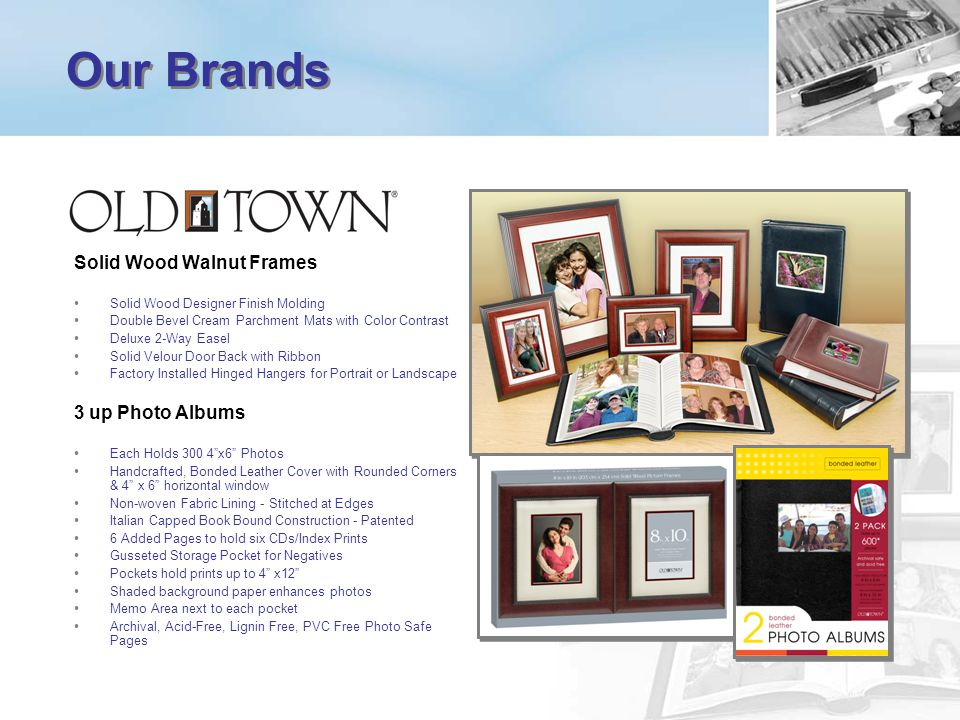 Our Brands Solid Wood Walnut Frames 3 up Photo Albums