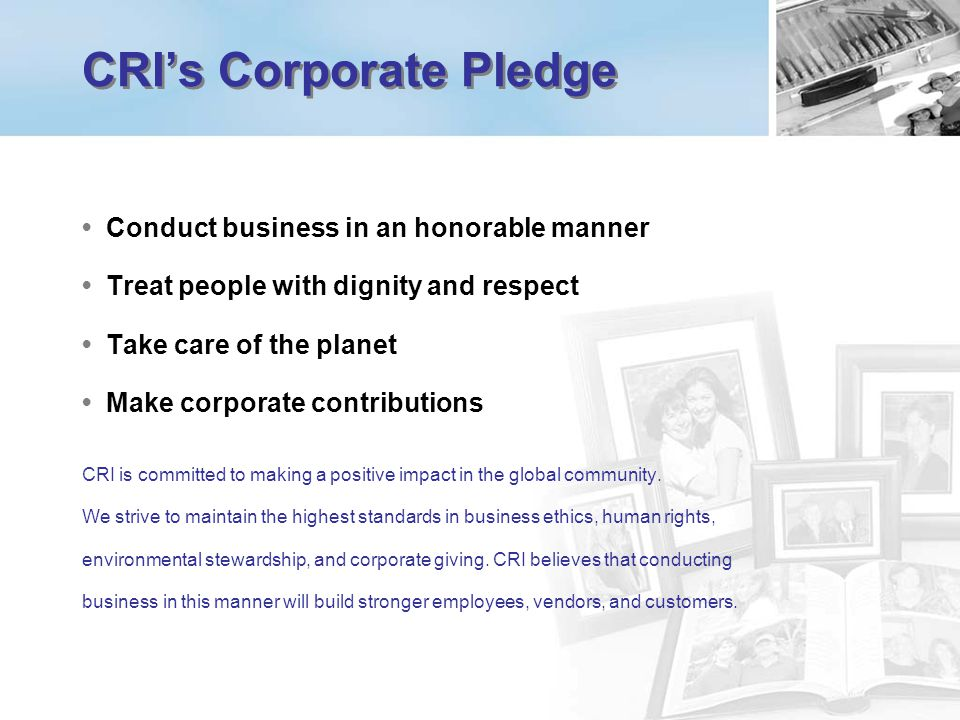 CRI's Corporate Pledge