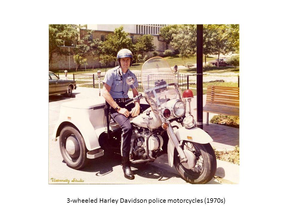 3-wheeled Harley Davidson police motorcycles (1970s)
