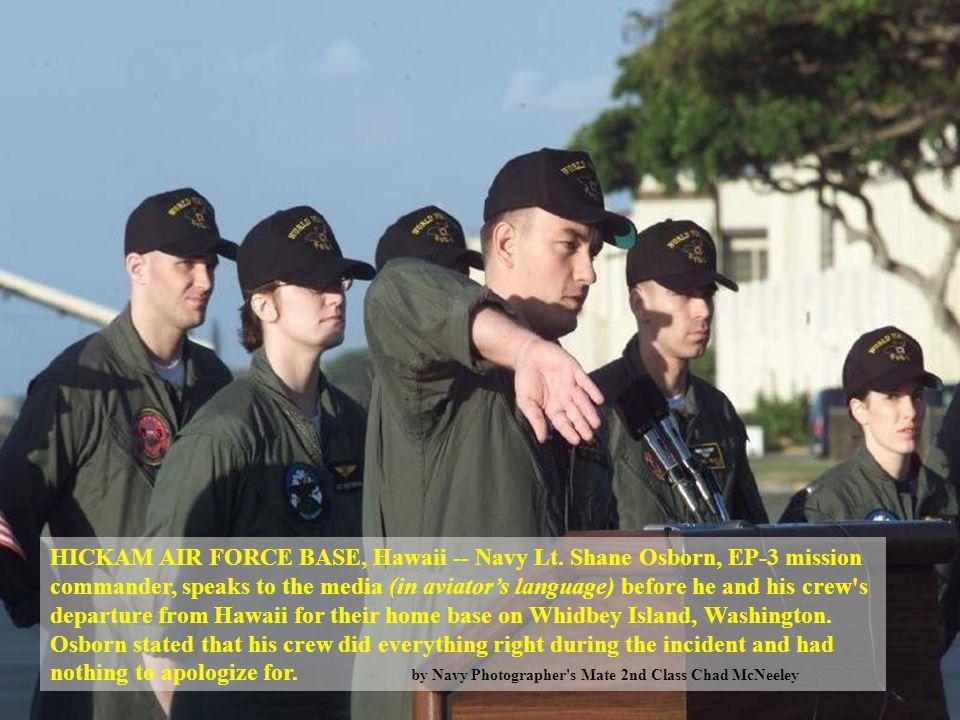 HICKAM AIR FORCE BASE, Hawaii -- Navy Lt. Shane Osborn, EP-3 mission