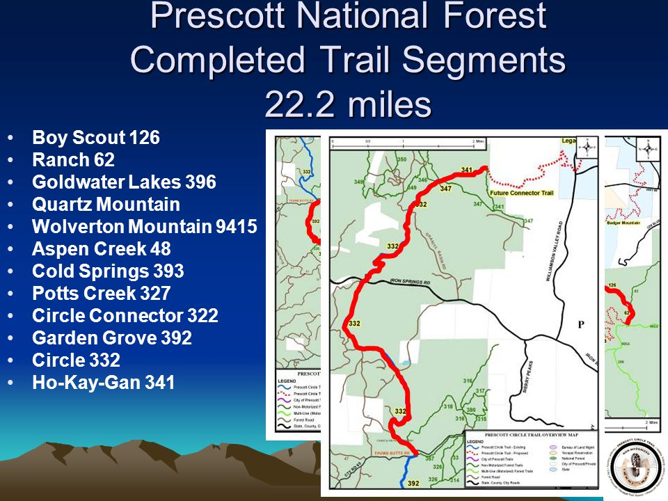 Prescott National Forest Completed Trail Segments 22.2 miles