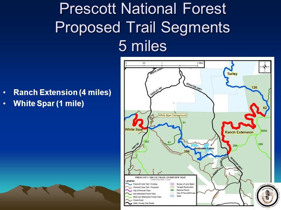 Prescott National Forest Proposed Trail Segments 5 miles