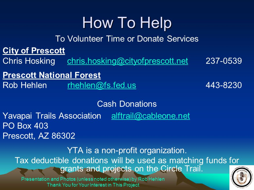How To Help To Volunteer Time or Donate Services City of Prescott
