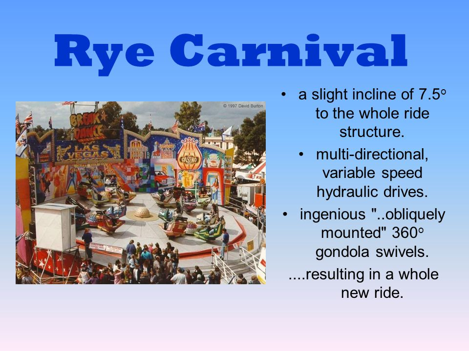 Rye Carnival a slight incline of 7.5o to the whole ride structure.