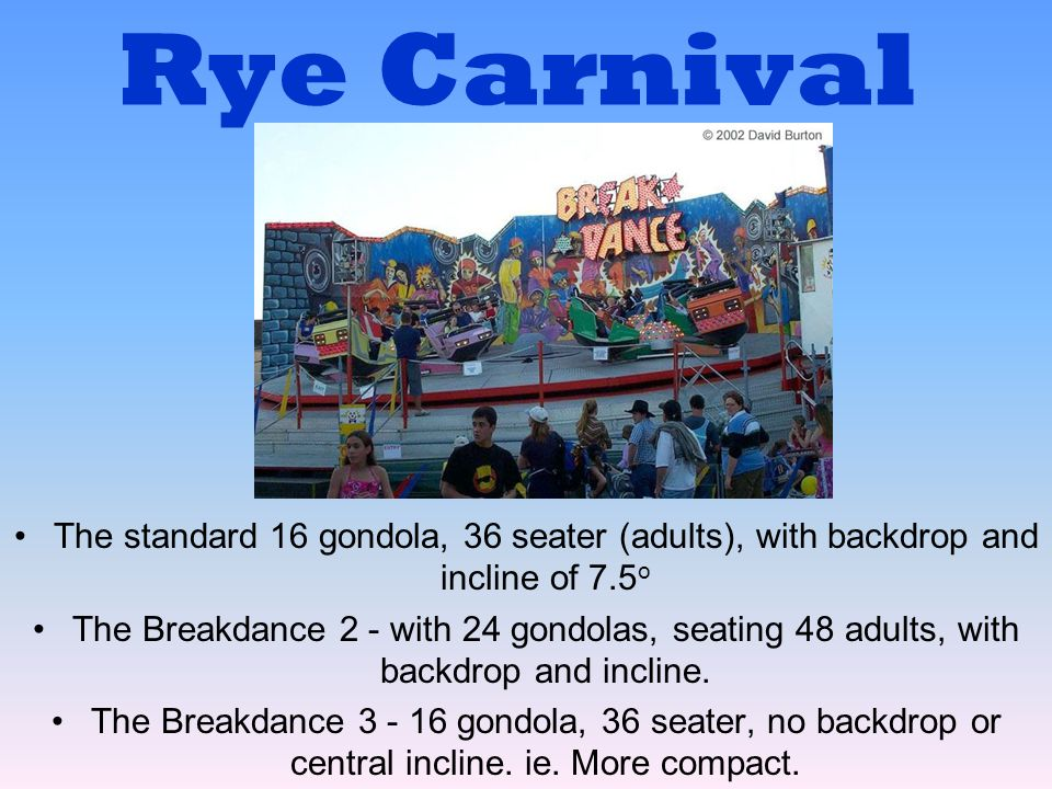 Rye Carnival The standard 16 gondola, 36 seater (adults), with backdrop and incline of 7.5o.