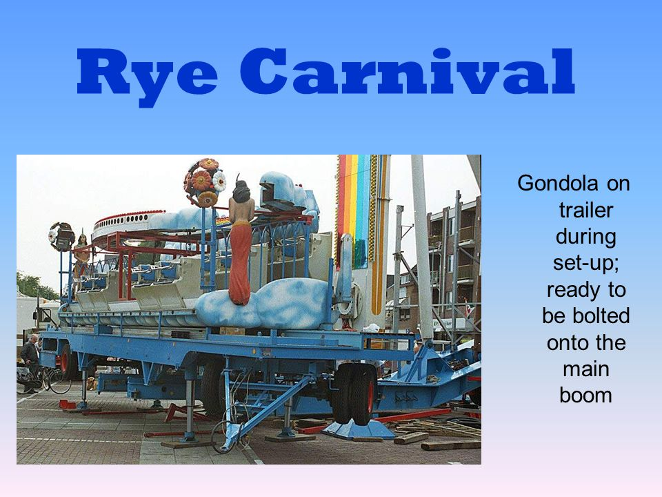 Rye Carnival Gondola on trailer during set-up; ready to be bolted onto the main boom