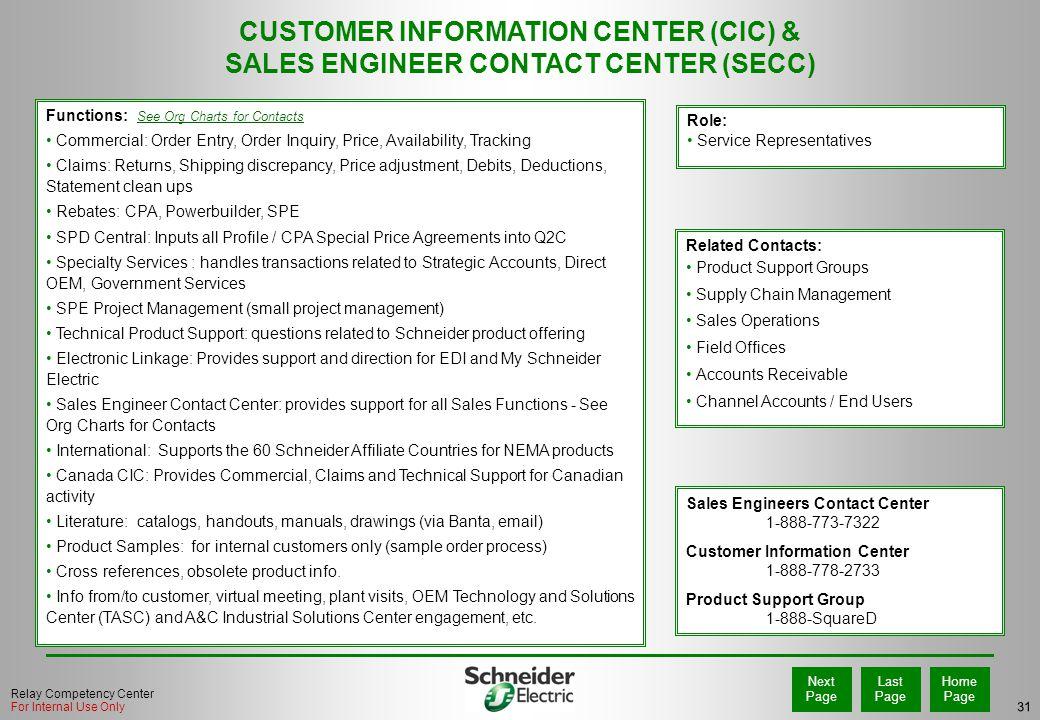 CUSTOMER INFORMATION CENTER (CIC) &