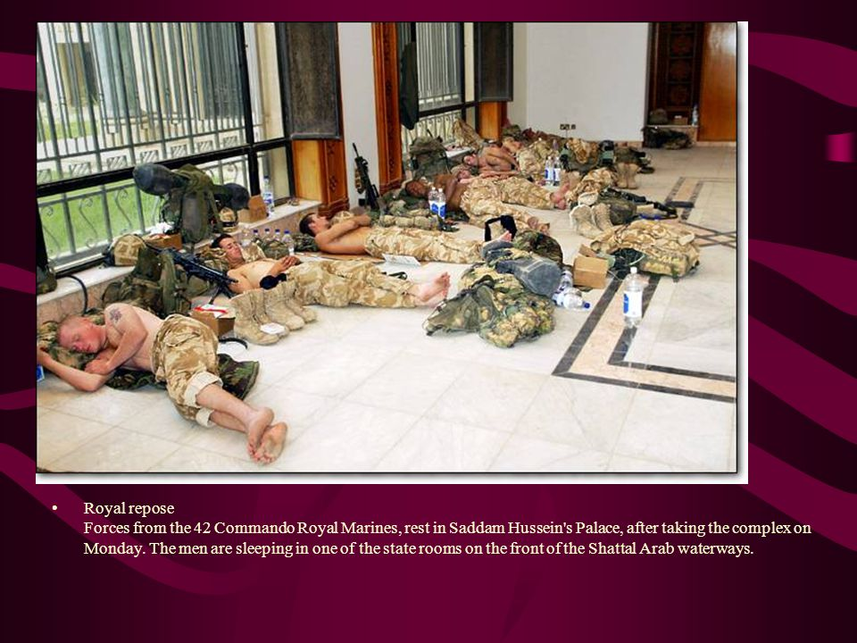 Royal repose Forces from the 42 Commando Royal Marines, rest in Saddam Hussein s Palace, after taking the complex on Monday.