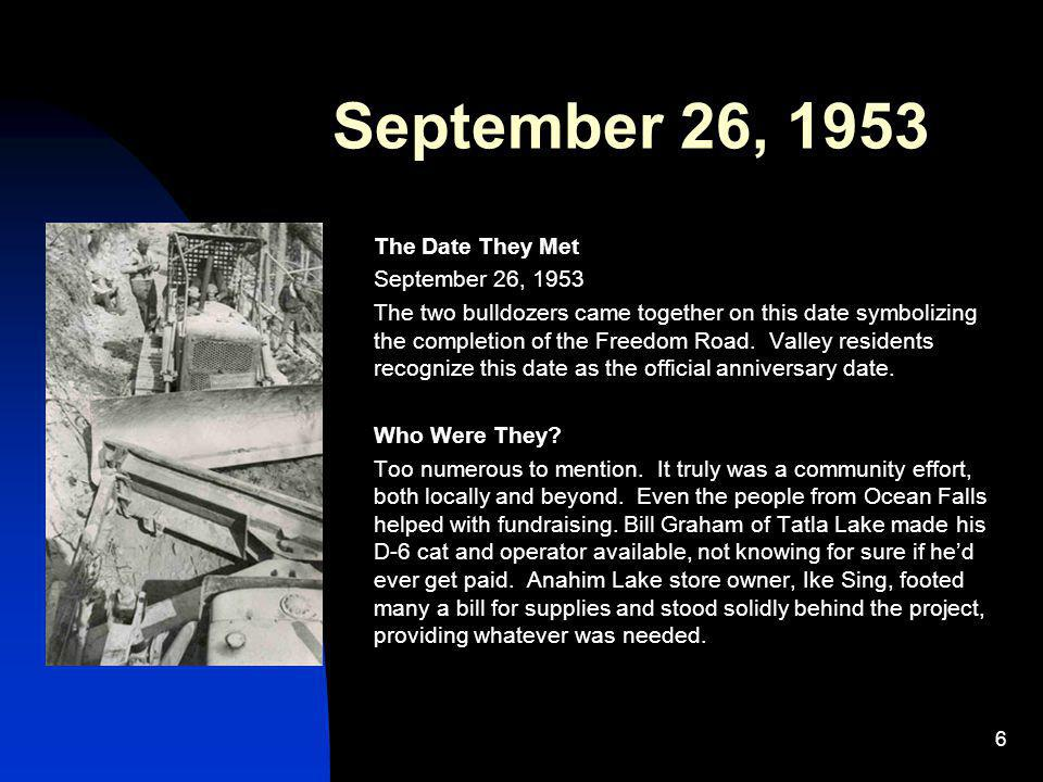 September 26, 1953 The Date They Met September 26, 1953