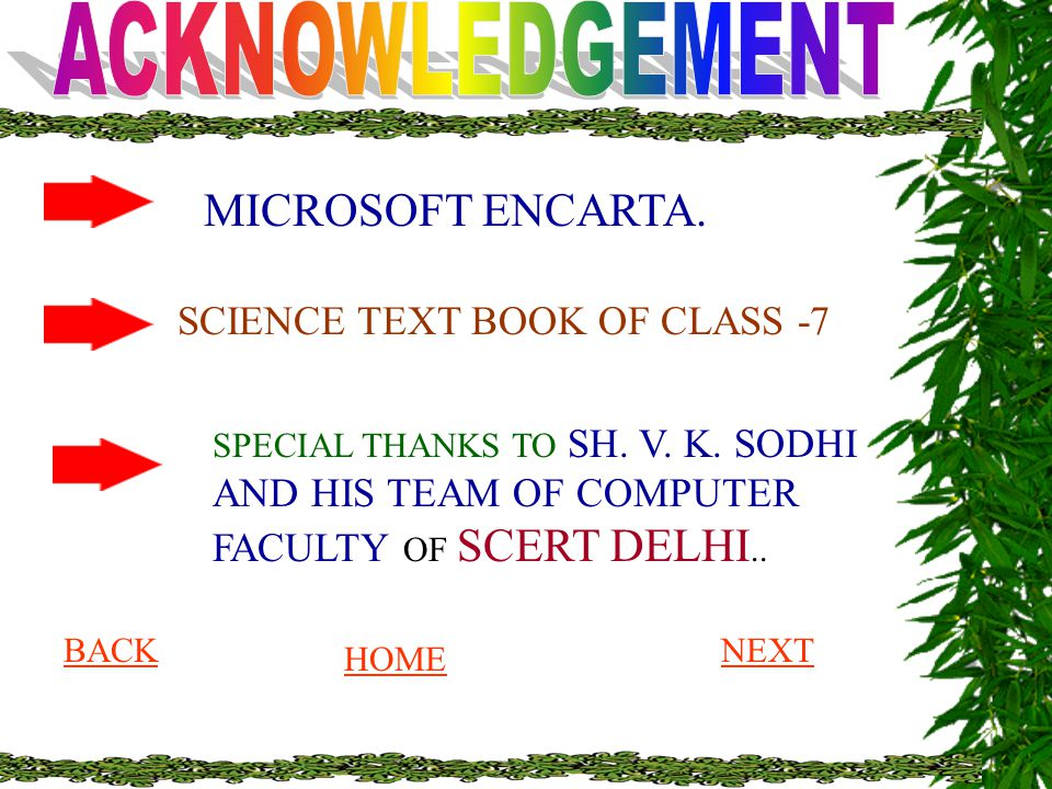 MICROSOFT ENCARTA. SCIENCE TEXT BOOK OF CLASS -7 ACKNOWLEDGEMENT